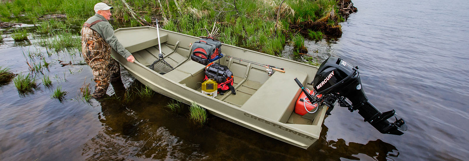 Crestliner cr jons aluminum utility jon boat built for for Fishing boat dealers near me